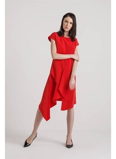 Rue Kısa Kollu Midi Elbise Kırmızı